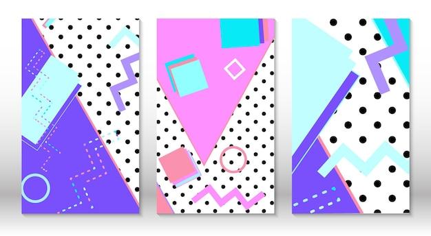 Набор шаблонов мемфиса. абстрактный красочный фон весело. хипстерский стиль 80-90-х годов. элементы мемфиса.