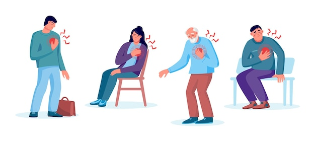 Набор мужчин и женщин с сердечным приступом, болью в груди. концепция лечения сердца, здравоохранения и диагностики заболеваний. векторная иллюстрация плоский. дизайн для баннера, целевой страницы, веб-фона
