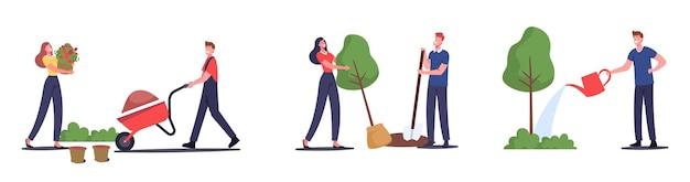 庭で働く男性と女性の農家のセット、ケアと水やりの植物、花を育てる、木を植える、手押し車の土を取り除く。牧場で働く庭師のキャラクター。漫画のベクトル図