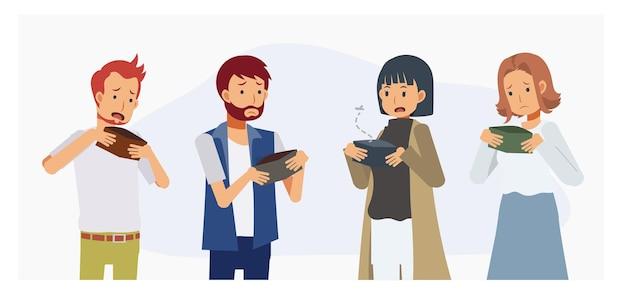 빈 지갑을 들고 남자와 여자의 집합입니다. 재정 문제, 위기, 실업, 빈곤, 파산. 평면 벡터 만화 캐릭터 그림입니다.