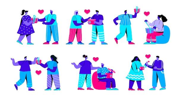 男性と女性のギフトボックスを開くフラットブルー人キャラクターのセット