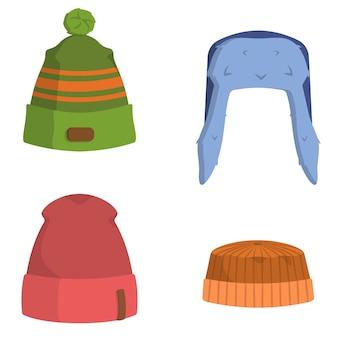 Набор мужских головных уборов. зимняя одежда в мультяшном стиле.