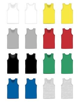 男性のベスト下着のセット。正面図と背面図のタンクトップ。孤立したノースリーブの男性のスポーツシャツまたは男性のトップアパレル。 tシャツの空白のテンプレート。カジュアルスタイル。