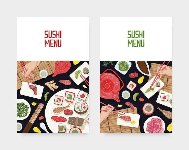 ダイニングテーブルと手が寿司、刺身、黒の背景に箸でロールを保持しているメニューカバーテンプレートのセット。日本食レストラン広告のリアルなベクトルイラスト。