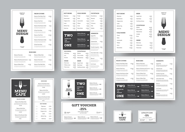 Набор меню для кафе и ресторанов в классическом белом стиле с разделением на блоки