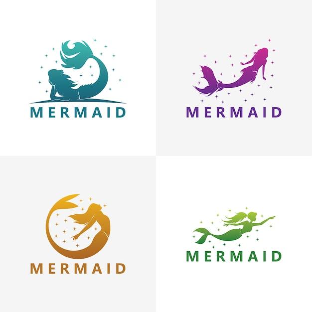 Набор шаблонов логотипа русалки