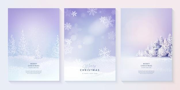 メリークリスマスと新年あけましておめでとうございます森の冬の風景のセット