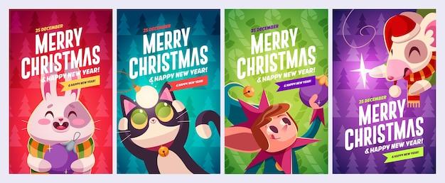 Набор счастливого рождества и счастливого нового года поздравительных открыток дизайн с рождественскими персонажами вектора