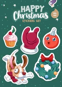 メリークリスマスと新年あけましておめでとうございますのステッカーまたは磁石のセット。お祭りのお土産。ベクトルイラスト