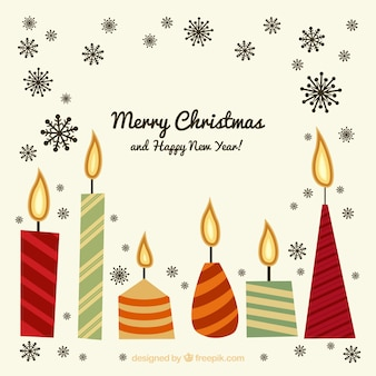 Set of merry christmas and new year with candles in vintage style