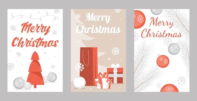 メリークリスマスグリーティングカードのセット。明けましておめでとうとメリークリスマスのイラスト。