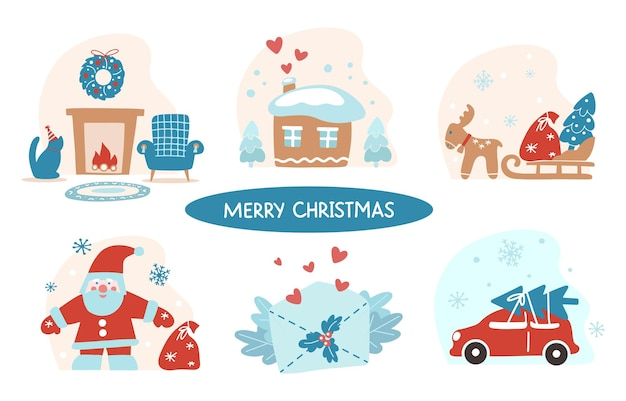 白い背景で隔離のメリークリスマス手描きパターンのセット