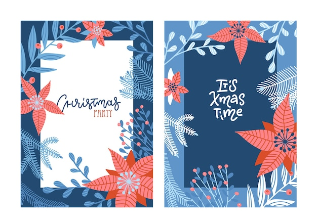 Набор счастливого рождества рисованной надписи карт синего и красного цветов.