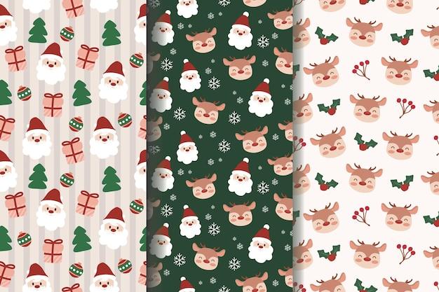 メリークリスマスサンタトナカイスノーフレークシームレスパターンのセット