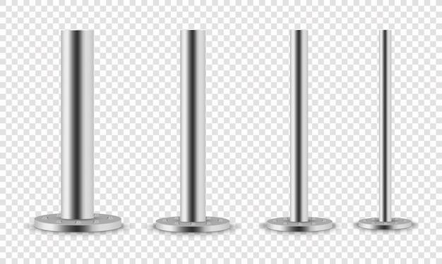 金属柱のセット。金属柱の支柱、さまざまな直径の鋼管が取り付けられ、透明な背景に分離された丸い台座にボルトで固定されます。トラスビームの鋼鉄要素。