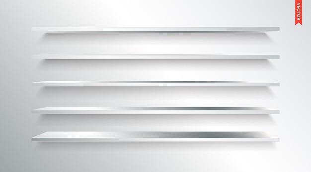 벽 배경에 고립 된 금속 또는 강철 선반 벡터 세트