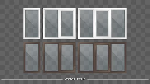 Комплект металлопластиковых балконов с прозрачными стеклами. современные балконы в реалистичном стиле. вектор.