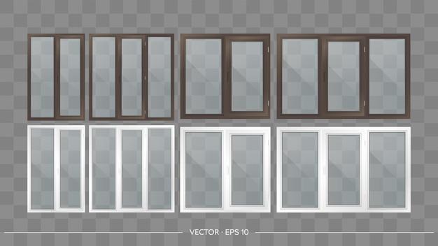 透明なガラスと金属プラスチックのバルコニーのセット。リアルなスタイルのモダンなバルコニー。ベクター。