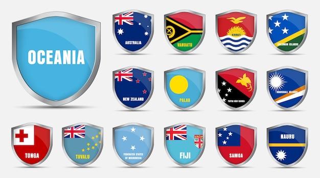 Набор металлических листов с флагами стран океании.