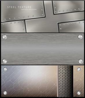 ポスターデザインの金属鋼バナーのセットです。