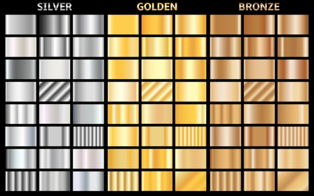 금속 그라디언트의 집합입니다. 골드, 실버 및 브론즈 배경 모음.