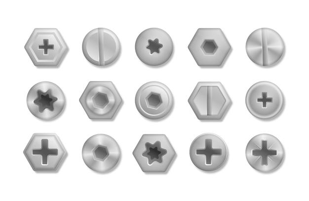 Набор металлических блестящих винтов и болтов для использования в вашей s. коллекция различных головок болтов, шурупов, гвоздей, заклепок. вид сверху. декоративные элементы для вашего. иллюстрация.