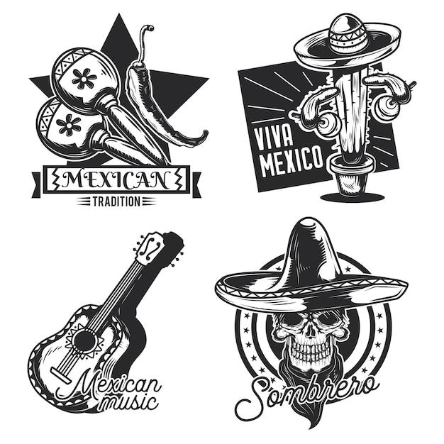 メキシコのエンブレム、ラベル、バッジ、ロゴのセット