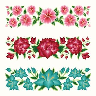 メキシコの刺繡花ボーダーのセット