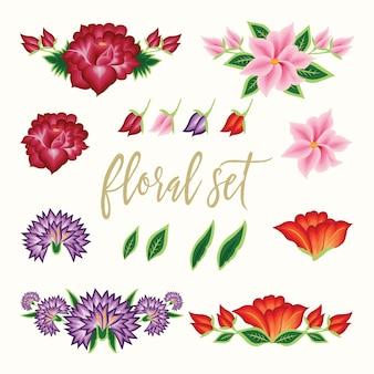 メキシコの刺繡スタイルの花のセット