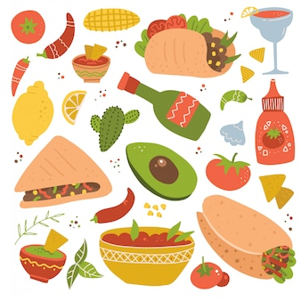 メキシコ料理の伝統的なメニューアイコン、調理するおいしいレシピ、本格的な料理、祭りの食事のセットです。