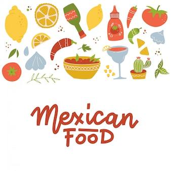 멕시코 국가 전통 음식 음료 세트와 밝은 색상 평면 아이콘 격리 된 벡터 일러스트 레이 션 기능.