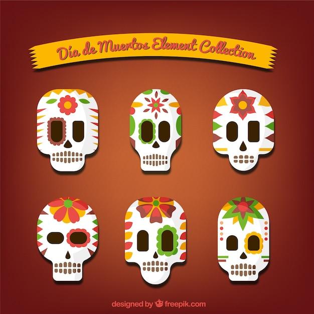 フラットスタイルでメキシコ頭蓋骨のセット