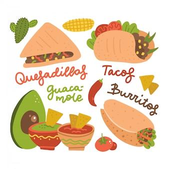 メキシコ伝統料理-タコス、ブリトー、ワカモレ、ナチョス料理、アボカド、サボテン、赤唐辛子のセット。レタリングとフラット漫画イラスト