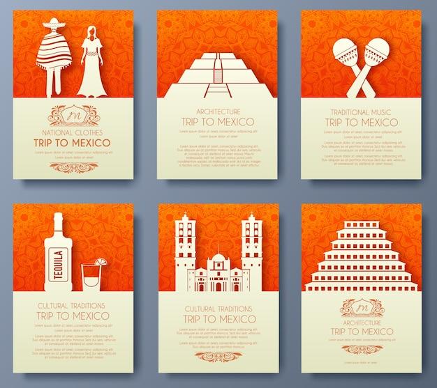 メキシコの国飾りイラストコンセプトのセット Premiumベクター