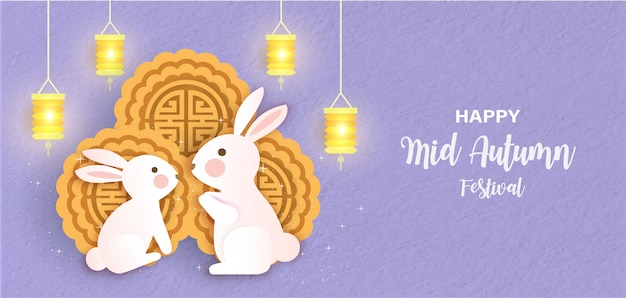 Набор середины осени фестиваль баннер с милой кроликов и луны торты в стиле вырезки из бумаги.