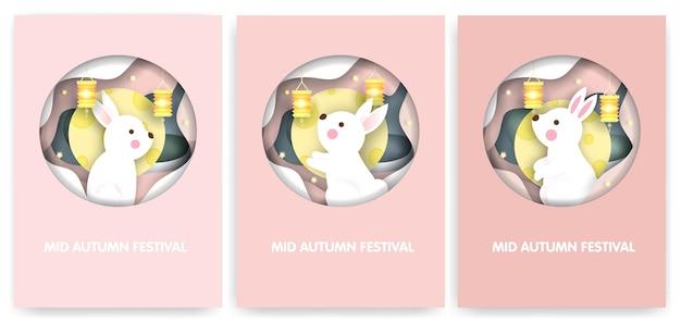 Набор карточек фестиваля середины осени с милыми кроликами. Premium векторы