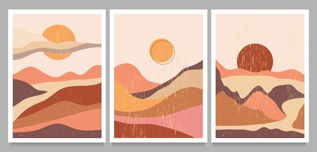 미드 센츄리 모던 미니멀 세트. 추상 자연, 바다, 하늘, 태양, 바위 산 풍경 포스터.