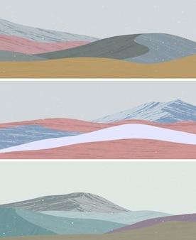 ミッドセンチュリーモダンミニマリストアートプリントのセット。海、山、波と抽象的な現代的な美的背景の風景。