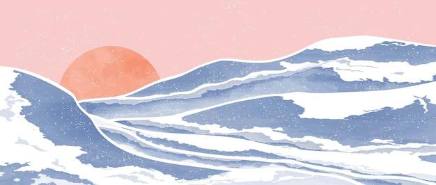 ミッドセンチュリーモダンミニマリストアートプリントのセット。抽象的な山の現代的な美的背景の風景。ベクトルイラスト