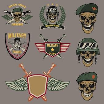 군사 상징의 집합입니다. 교차 칼이 있는 낙하산병 두개골. 로고, 레이블, 상징, 기호에 대한 디자인 요소입니다.