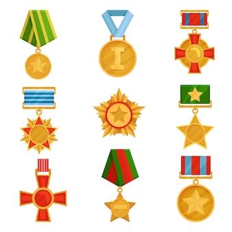 カラフルなリボンと軍事メダルのセット。光沢のある黄金の注文。勝利のシンボル。復員軍人の日のテーマ