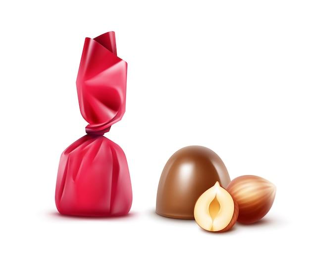 Набор молочных конфет с фундуком в розовой фольге