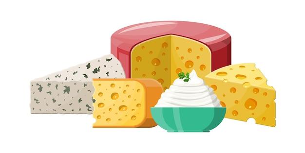 Набор молочных сырных продуктов иллюстрации