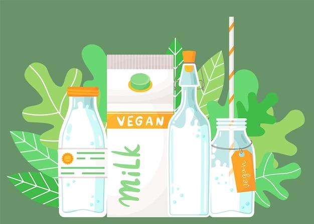 牛乳容器のセットです。ラベル付きプラスチックボトル、ビーガンミルク付きカートンパック、コルク付きボトル、ストローとラベル付きボトル、ミルクカクテル