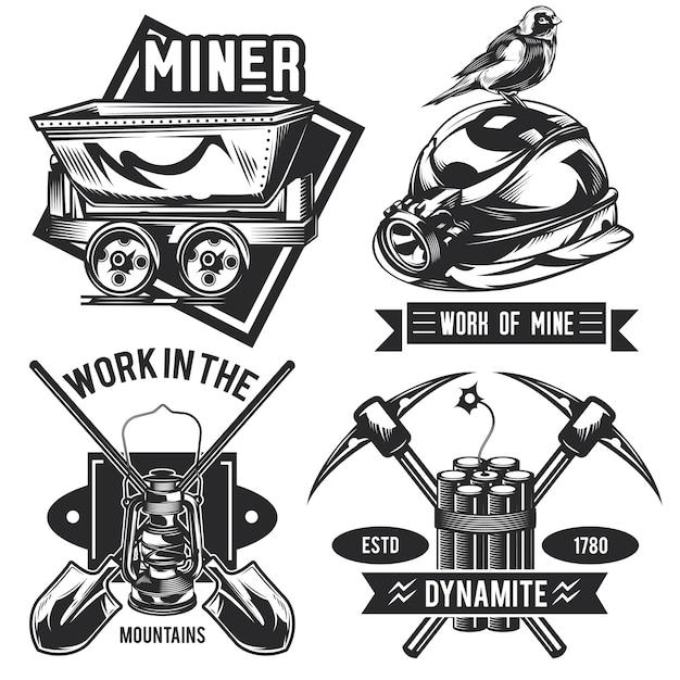 鉱夫のエンブレム、ラベル、バッジ、ロゴのセット。