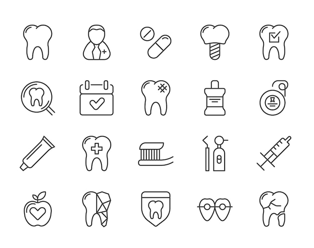 Набор минимальных иконок стоматологической стоматологической клиники векторной линии. идеальный пиксель. тонкий штрих. 48x48.