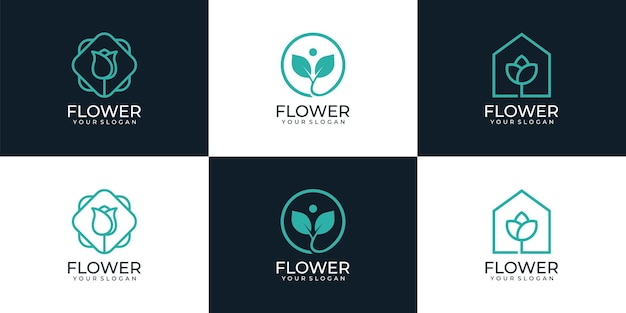 Набор минимальных линейных красочных цветов с логотипом бутик, здоровье, хорошее здоровье, вдохновение