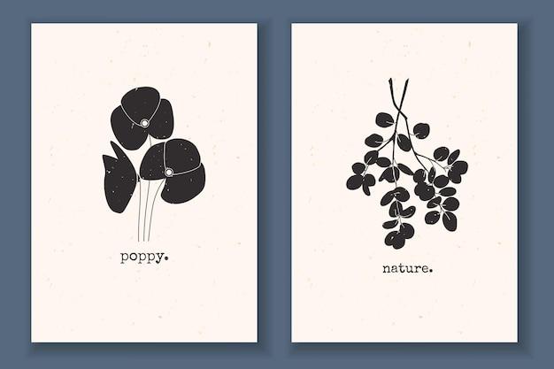 식물 꽃 양귀비 가지 잎과 추상 자연 요소가 있는 질감 있는 모노크롬이 있는 최소한의 포스터 세트