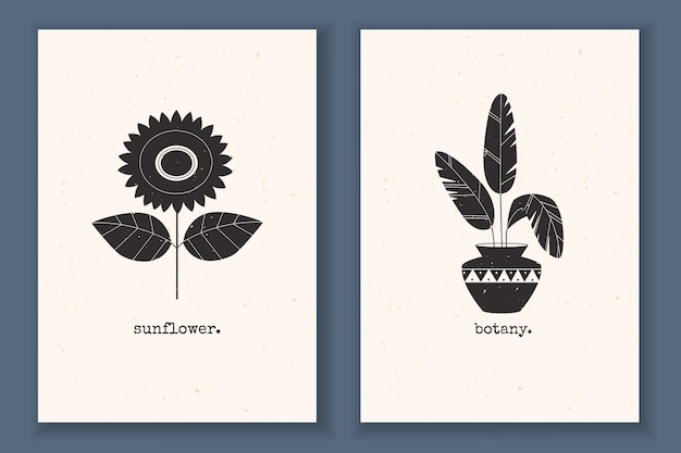 식물 꽃 해바라기 잎과 추상 자연 요소가 있는 질감 있는 흑백이 있는 최소한의 포스터 세트