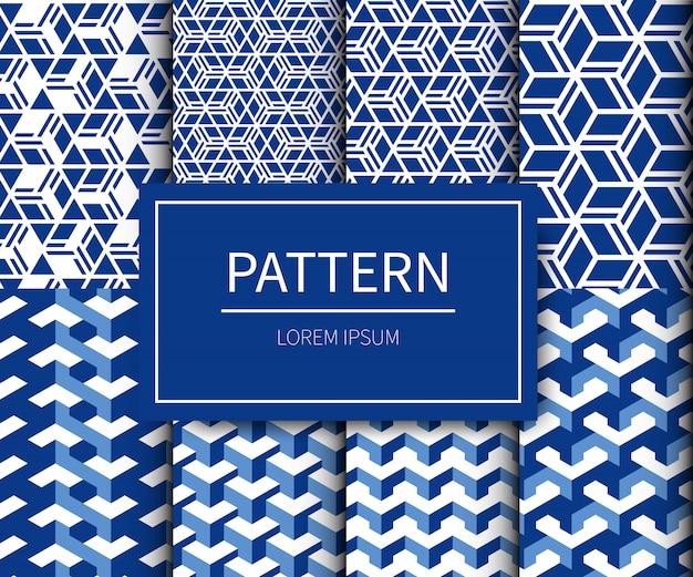 最小限の伝統的な生地和柄スタイルのセット。青白の色調の和柄。